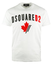 Dsquared2 Cool Fit Maple Leaf Logo White T-Shirt - Nova Designer Clothing Luxury Mens