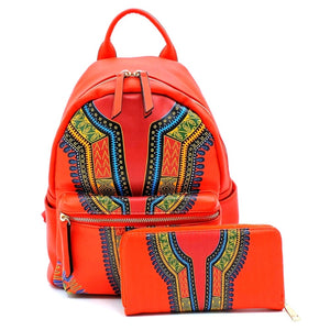 Red Dashiki Print Vegan Leather Backpack and Wallet Set Handbag