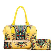 Load image into Gallery viewer, Yellow Dashiki Print Vegan Leather Framed Handbag with Matching Zippered Wallet