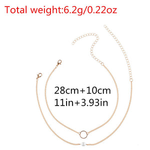 Fashion Women Jewelry Necklace Chain Two Piece Set Necklace  GD