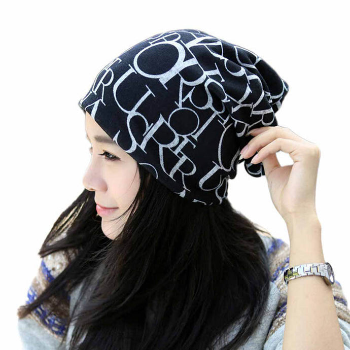 Classic Fashion Hip-Hop English Letter Multi Purpose Baggy Hat Unisex Scarf Beanie