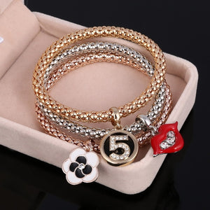 3 Pcs/Set Crystal Owl Heart Charm Bracelets & Bangles Gold/Silver Plated Elephant Anchor Pendants Rhinestone Bracelets For Women