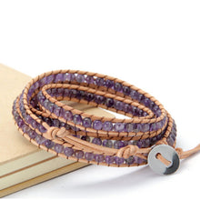 Load image into Gallery viewer, 4MM Amethyst Natural Stone Wrap Bracelet