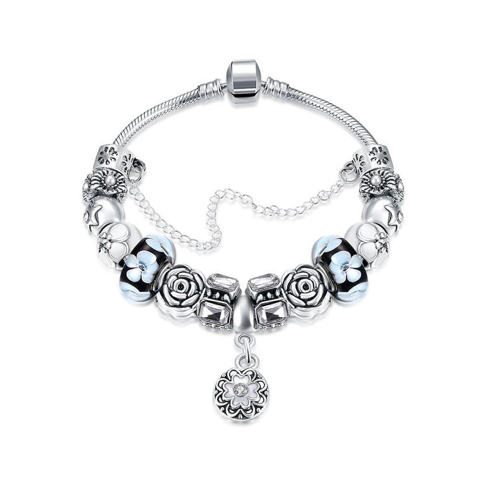 Royal Floral Petite Emblem Pandora Inspired Bracelet Made with Swarovski Elements