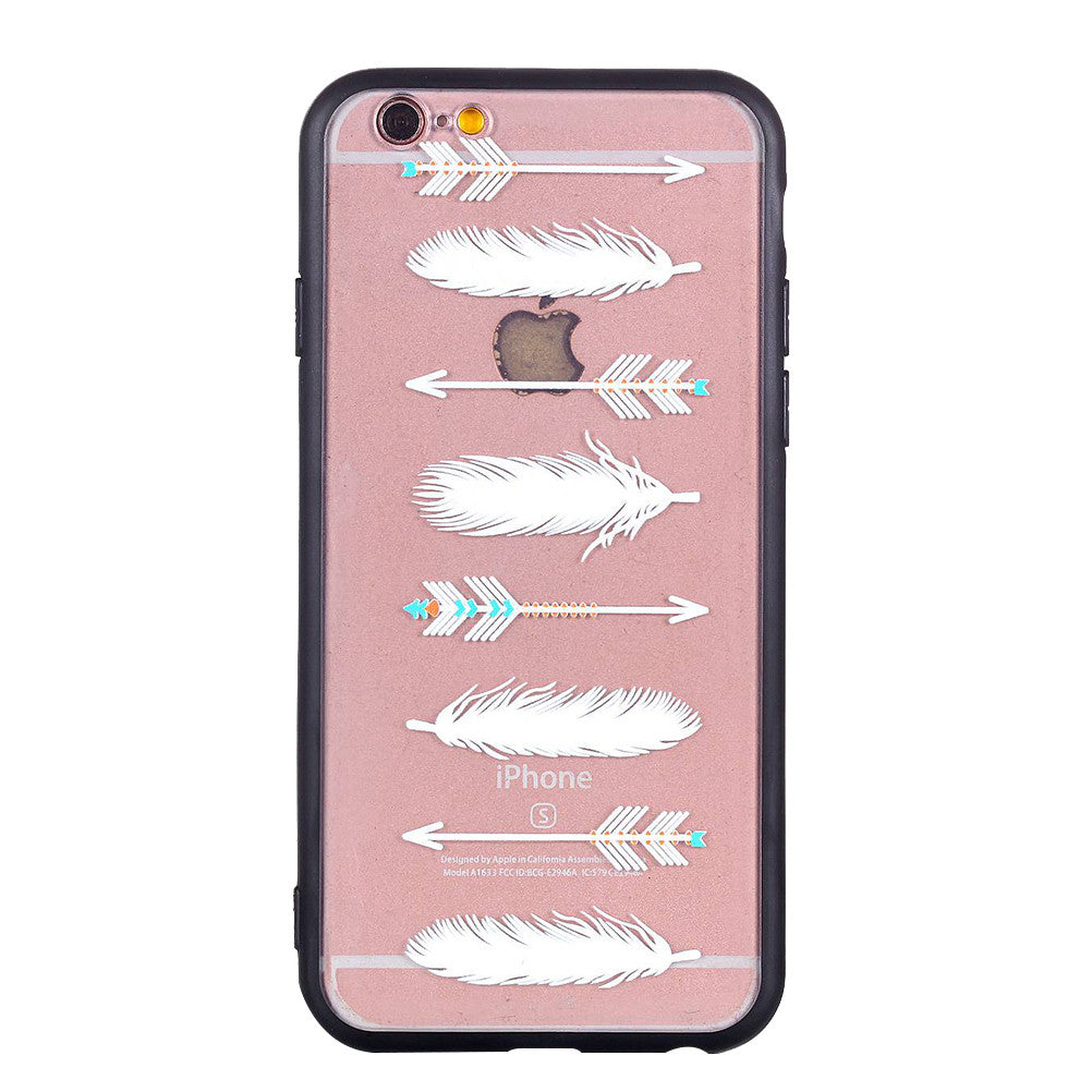 Arrowhead Feather Pattern Phone Case Soft Ultrathin TPU Case Embossment Varnish Design Drop-proof Phone Case Shell for iPhone