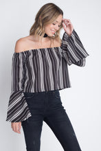 Load image into Gallery viewer, Women's Off Shoulder Casual Stripe Bell Sleeve Top