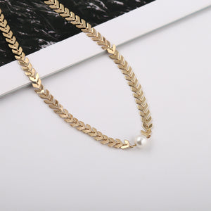 Fashion Necklace Women Long  Dangle Necklace Jewelry Fish bone chain