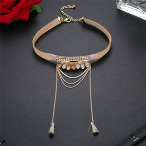 Ladies Necklace Acrylic Alloy Artificial Velvet Necklace Chain