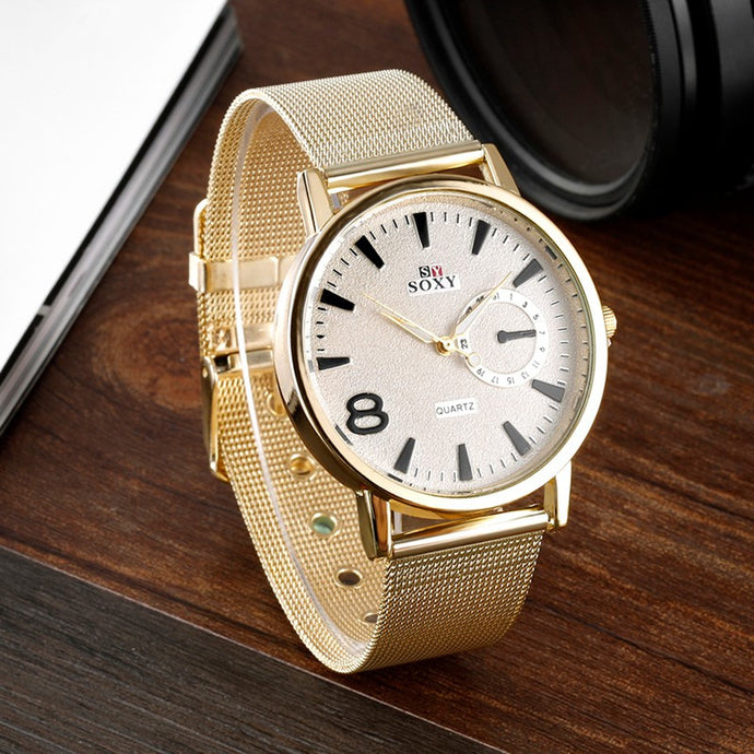 Men'S Quartz Watch Casual Stainless Steel Watch Sport Watch Fashion Watch