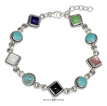 "Load image into Gallery viewer, Sterling Silver 7"" Southwest Design Simulated Stone Link Bracelet"