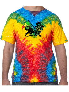 Rasta Lion Symbol Tie Dye Tee Shirt - Woodstock, Small Top