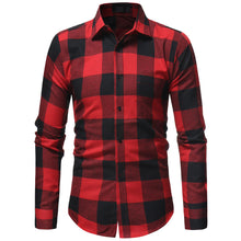 Load image into Gallery viewer, Men Plaid Shirt 2018 Korean Long Sleeve Shirt Casual Flannel Men Tops