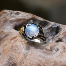 Load image into Gallery viewer, New Europe and America Rose Gold Color Tree Leaf Natural Moonstone Stone Silver Ring