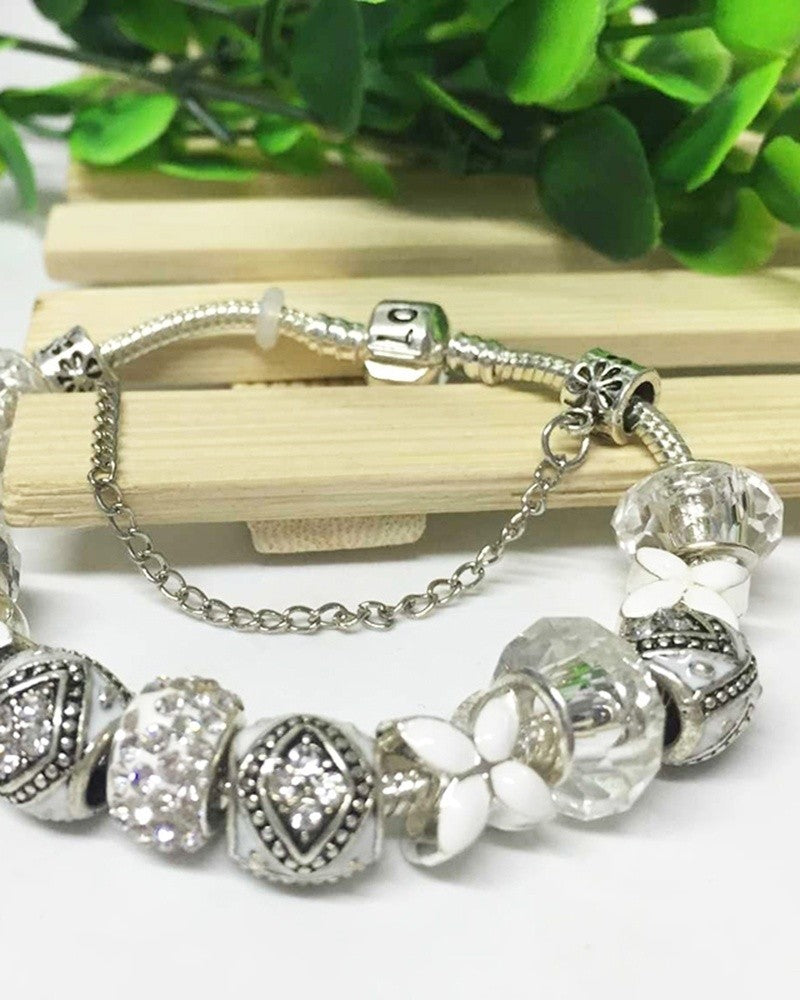 2015 pop crystal white glass beads fit  bracelet women silver white silver bracelets iris bracelets  pandora charms