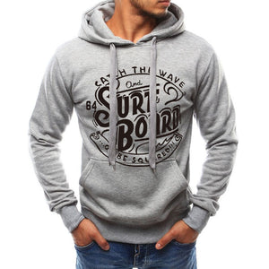 Men Simple Pullover Print Hoodie Top