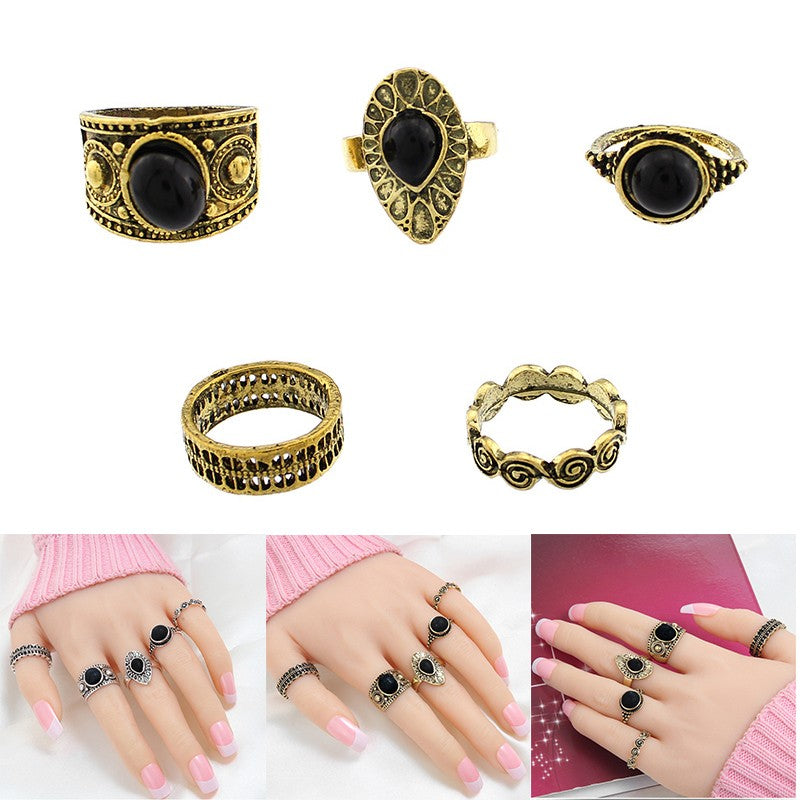 5 Pcs Antique Alloy Nature Black Stone Midi Finger Rings Set for Women's Retro Jewelry