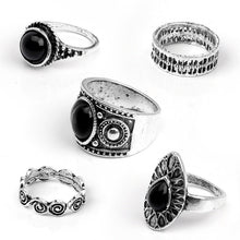 Load image into Gallery viewer, 5 Pcs Antique Alloy Nature Black Stone Midi Finger Rings Set for Women's Retro Jewelry
