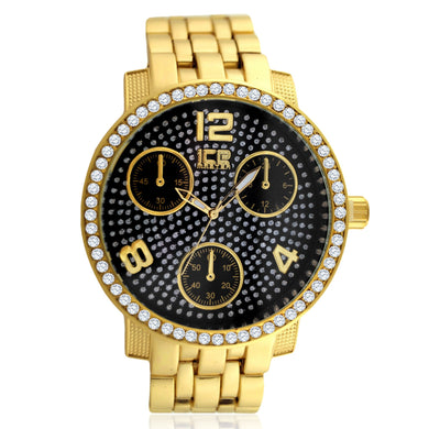 Black Pave Dial Flat Bezel Classic Bling Metal Watch