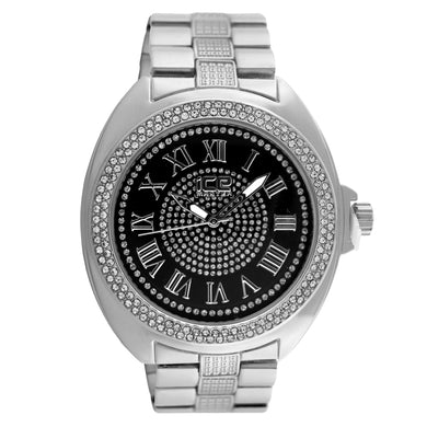 Black Dial Roman Numeral Classic Bling Metal Watch