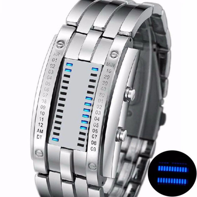 Fashion LED Electronic Watches Lover's Watch Creative Binary Wrist Watch Men Women Digital Stainless Steel Watch