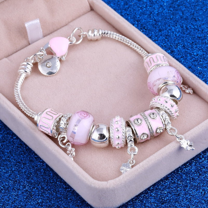 Pink Crystal Charm Silver Bracelets & Bangles for Women With Murano Beads EM