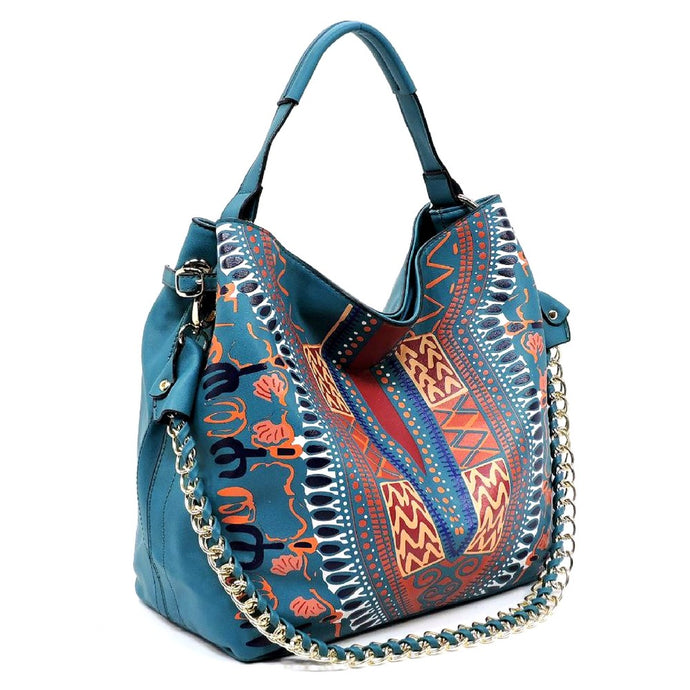 Teal Dashiki Print Vegan Leather Shoulder Bag with Gold Chain