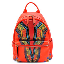 Load image into Gallery viewer, Red Dashiki Print Vegan Leather Backpack and Wallet Set Handbag
