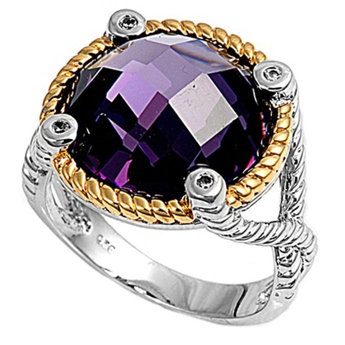 Sterling Silver February Round Simulated Amethyst Ring
