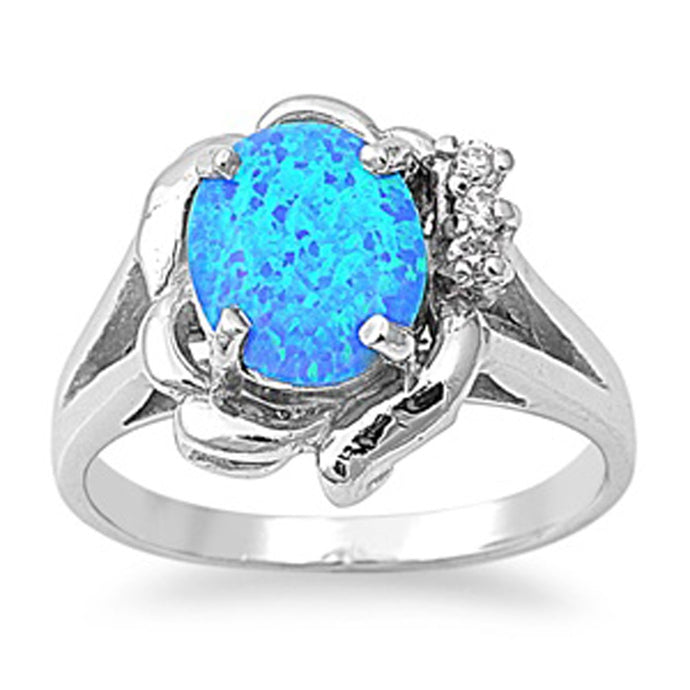 Sterling Silver October Oval Blue Simulated Opal Ring