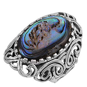 Sterling Silver Oval Simulated Abalone Ring