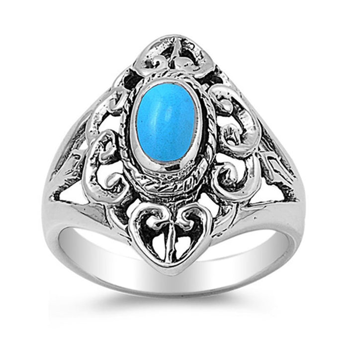 Sterling Silver December Oval Simulated Turquoise Ring
