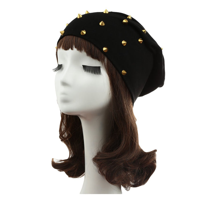 New Fashion Unisex Men Women Beanie Rivet Decoration Solid Design Hip-Hop Slouch Headwear Hat