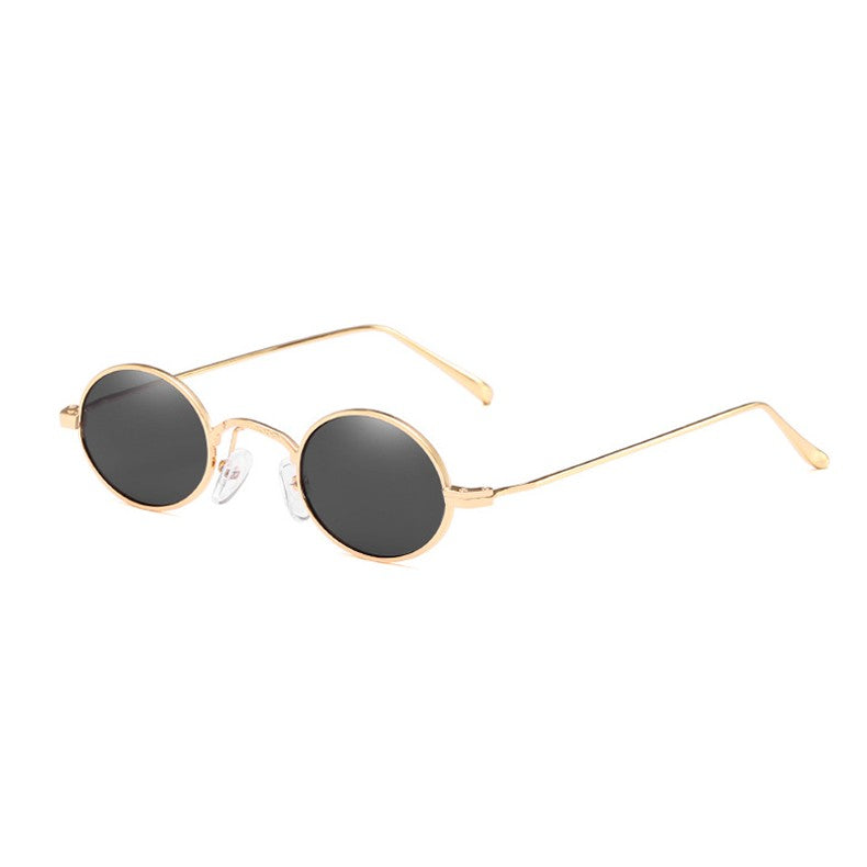 Small Oval Sunglasses Women Retro Metal Frame Black Red Yellow Lens Vintage Round Sun Glasses for men xx959