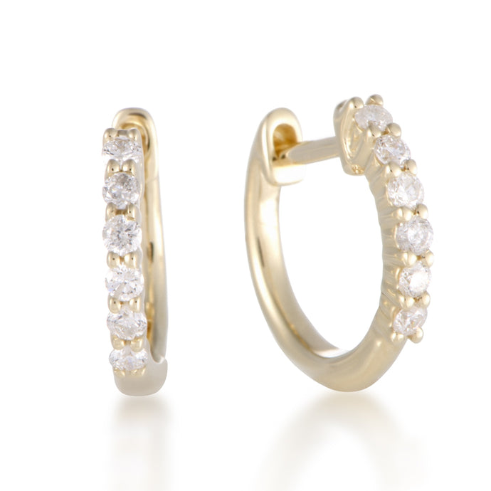 14K YELLOW, ROSE GOLD 0.25 CARAT 6-DIAMOND HOOP HUGGIES EARRINGS