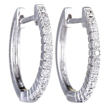 Load image into Gallery viewer, 14K WHITE, YELLOW GOLD 0.27 CARAT DIAMOND HOOP HUGGIES EARRINGS