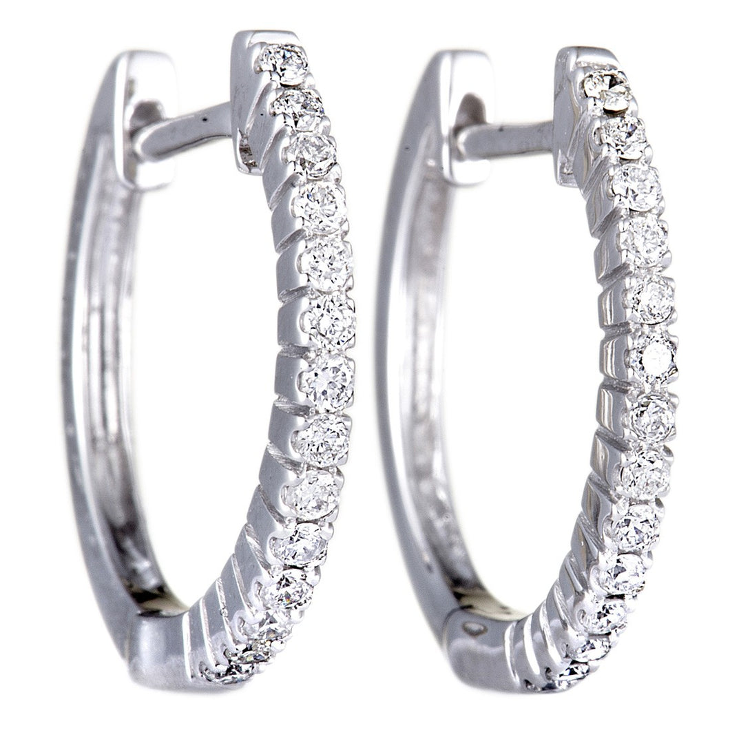 14K WHITE, YELLOW GOLD 0.27 CARAT DIAMOND HOOP HUGGIES EARRINGS