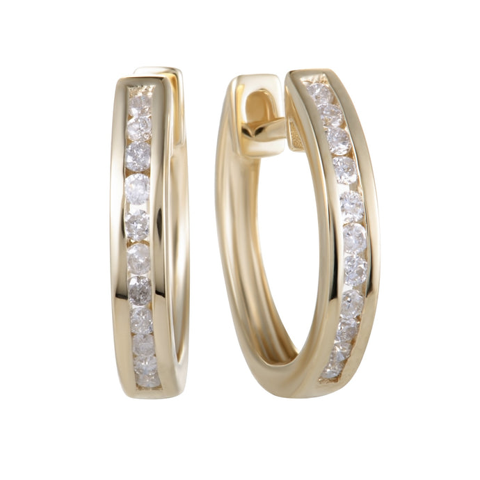 14K YELLOW, ROSE GOLD CHANNEL SET .25 CARAT DIAMOND HOOP EARRINGS