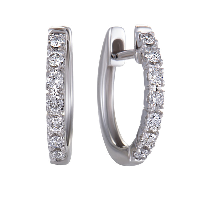 14K WHITE, YELLOW, ROSE GOLD 7-DIAMOND 0.25 CARAT HOOP EARRINGS