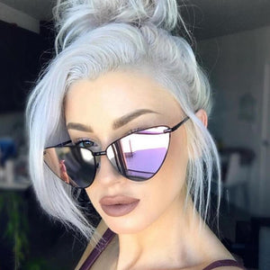 Cat Eye Sunglasses Women Fashion Metal Frame Eyewear Female Coating Mirror Shades xx316