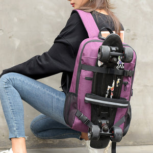 Anti-theft Skateboard Backpack Laptop Backpack College Backpack Travel School Bag with Lock and USB Port