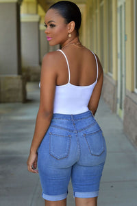 Blue Denim Destroyed Bermuda Shorts With