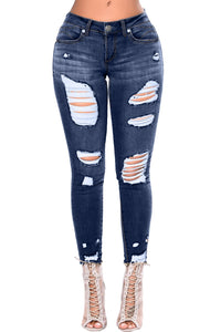 Women Mid rise Ripped Distressed Skinny Jeans Denim Pants
