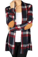 Load image into Gallery viewer, Suede Elbow Patch Long Sleeve Plaid Cardigan