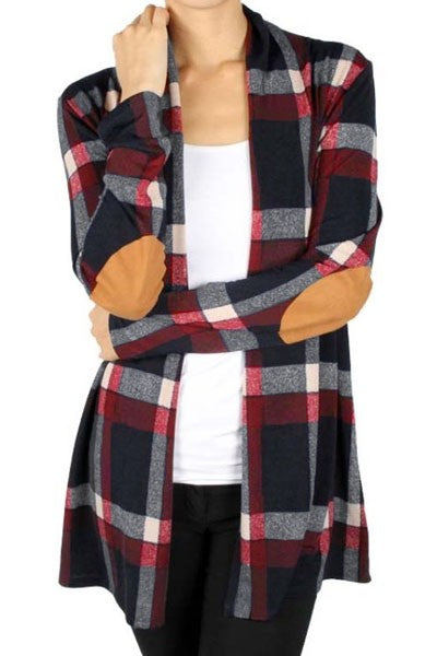 Suede Elbow Patch Long Sleeve Plaid Cardigan