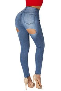 High Waist Bottom Ripped Hole Cut Jeans