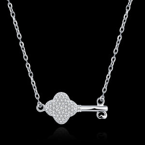 "Swarvski® Crystal Elements  ""the Key"" Sterling Silver Necklace"