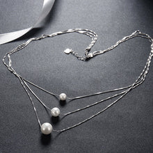 Load image into Gallery viewer, Triple Pearl Sterling Silver Necklace