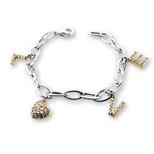 S56206 Reverse Two-Tone 925 Sterling Silver Bracelet with AAA Grade CZ in Clear