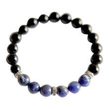 Load image into Gallery viewer, Black Onyx & Sodalite Sterling Silver Bracelet