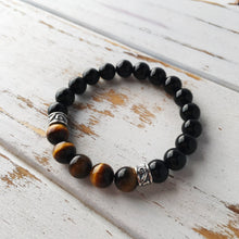 Load image into Gallery viewer, Tiger's Eye & Black Onyx Sterling Silver Bracelet